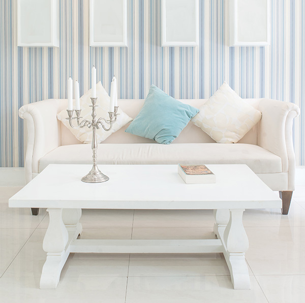 Beautiful room furnished with contemporary and vintage finds